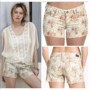 Paige Liberty Silver lake Floral Denim Shorts
